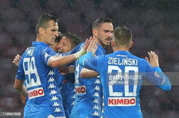 STADIUM NAPLES CAMPANIA ITALY Napoli's belgian striker Dries Mertens celebrates with teammates after scoring a goal during the Italian Serie A...