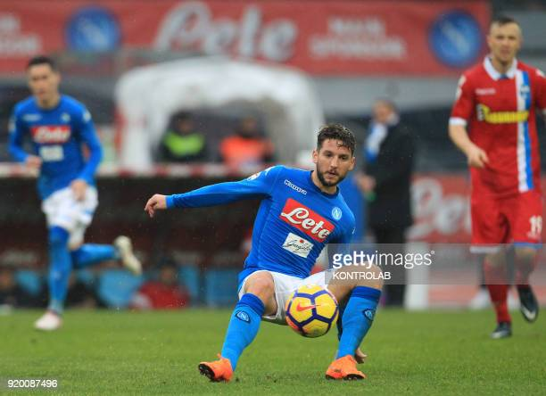 STADIUM NAPLES CAMPANIA ITALY Napoli's Belgian striker Dries Mertens controls the ball during the Italian Serie A football match SSC Napoli vs SPAL...