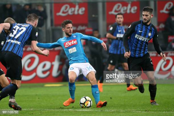 STADIUM MILAN LOMBARDIA ITALY Napoli's Belgian striker Dries Mertens controls the ball next to Inter Milan's Italian midfielder Roberto Gagliardini...