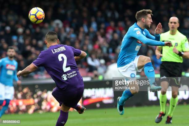 STADIUM NAPLES CAMPANIA ITALY Napoli's Belgian striker Dries Mertens fights for the ball with Fiorentina's French defender Vincent Laurini during the...