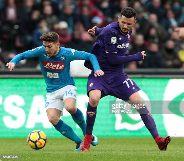 STADIUM NAPLES CAMPANIA ITALY Napoli's Belgian striker Dries Mertens fights for the ball with Fiorentina's French striker Cyril Thereau during the...