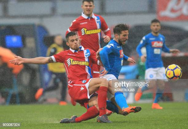 STADIUM NAPLES CAMPANIA ITALY Napoli's Belgian striker Dries Mertens fights for the ball with SPAL's Italian midfielder Alberto Grassi during the...