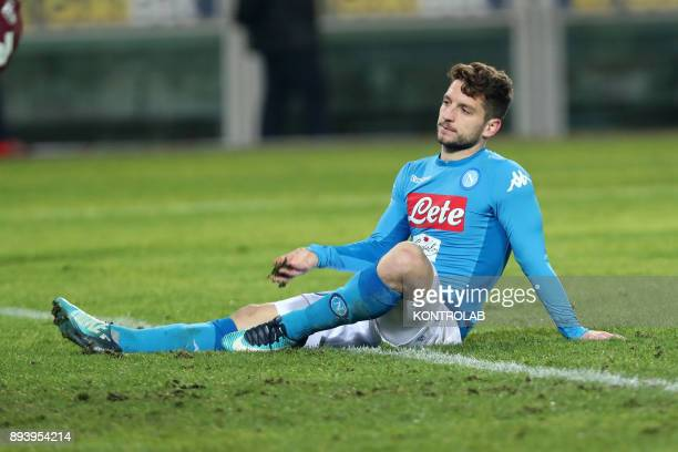 STADIUM TORINO PIEMONTE ITALY Napoli's Belgian striker Dries Mertens gestures during the Italian Serie A football match FC Torino Svs SC Napoli at...