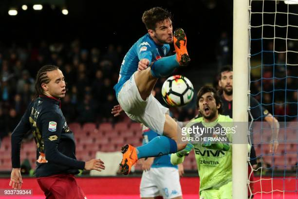 Napoli's Belgian striker Dries Mertens tries to score during the Italian Serie A football match SSC Napoli vs Genoa CFC on March 18 2018 at the San...