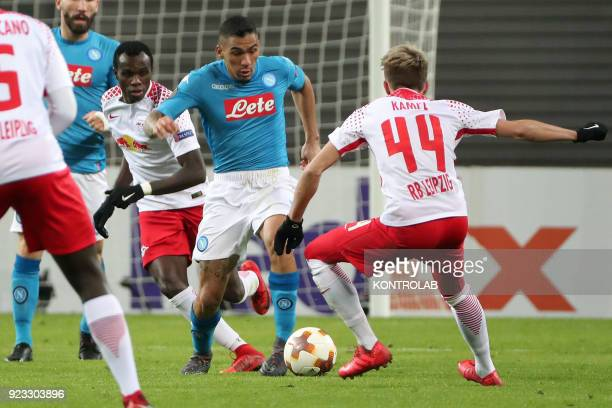 ARENA LEIPZIG SACHSEN GERMANY Napoli's Brazilian midfielder Allan fights for the ball with Leipzig's Brazilian midfielder Kevin Kampl during the Uefa...