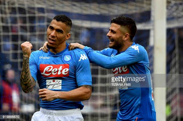 Napoli's Brazilian midfielder Marques Loureiro Allan celebrates after scoring a goal during the Serie A football match between Napoli and Spal at San...