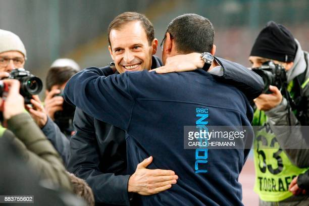 Napoli's coach from Italy Maurizio Sarri hugs Juventus' coach from Italy Massimiliano Allegri before the Italian Serie A football match Napoli vs...