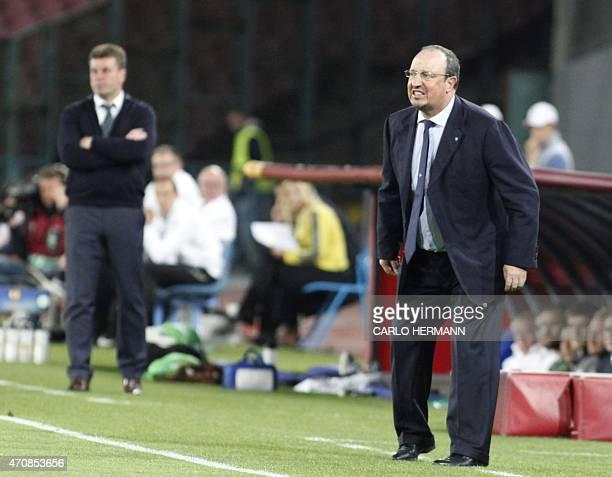 Napoli's coach from Spain Rafael Benitez gestures during the UEFA Europa League quarter final second leg football match SSC Napoli vs VFL Wolfsburg...