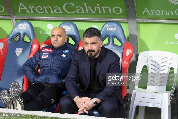 Napoli's coach Gennaro Gattuso looks on during the Serie A match between Cagliari Calcio and SSC Napoli at Sardegna Arena on February 16 2020 in...