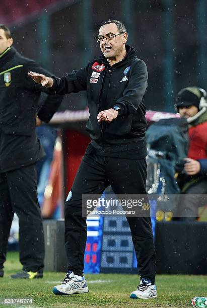 Napoli's coach Maurizio Sarri gestures during the Serie A match between SSC Napoli and Pescara Calcio at Stadio San Paolo on January 15 2017 in...