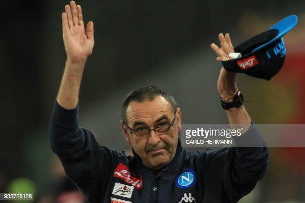 Napoli's coach Maurizio Sarri greets fans before the Italian Serie A football match SSC Napoli vs Genoa CFC on March 18 2018 at the San Paolo Stadium...