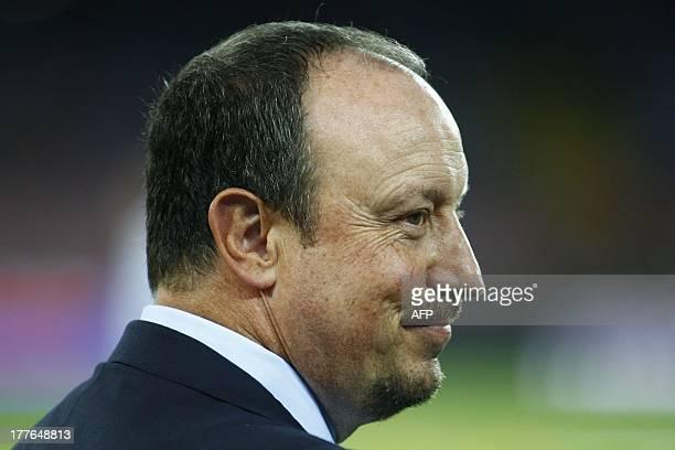 Napoli's coach Spanish Rafael Benitez looks on before before the Italian Serie A football match SSC Napoli vs Bologna FC at San Paolo Stadium in...