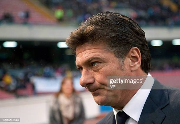 Napoli's coach Walter Mazzarri looks on before an Italian Serie A football match between SSC Napoli and Torino FC at San Paolo Stadium in Naples on...