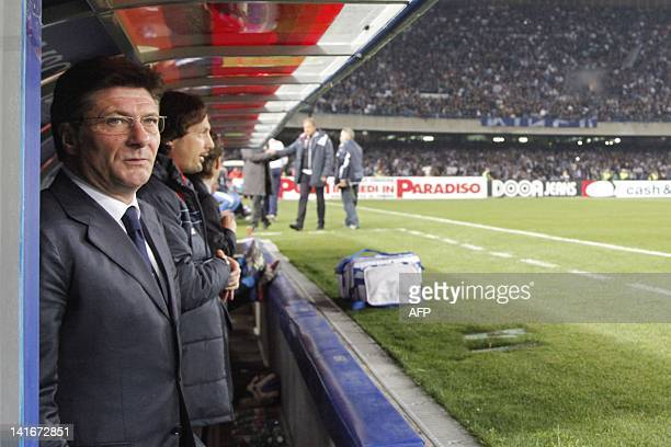 Napoli's coach Walter Mazzarri reacts during the return football match of the semi finals of the Cup of Italy between SSC Napoli and AC Siena in San...