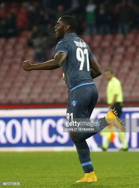 Napoli's Colombian forward Duvan Zapata celebrates after scoring during the Italian Serie A football match SSC Napoli vs Atalanta BC on March 22 2015...