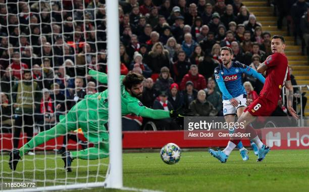 Napoli's Dries Mertens scores the opening goal during the UEFA Champions League group E match between Liverpool FC and SSC Napoli at Anfield on...