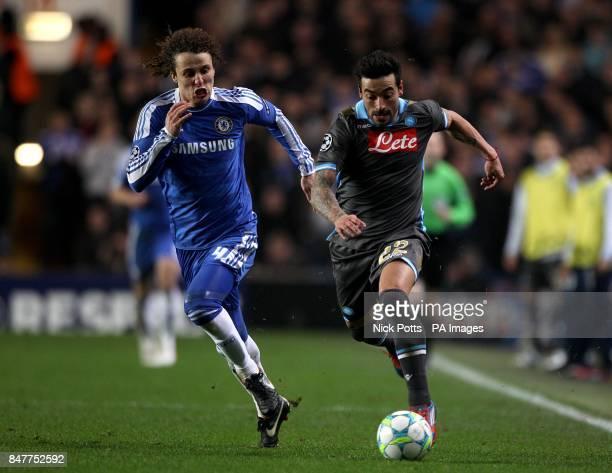 Napoli's Ezequiel Lavezzi and Chelsea's David Luiz battle for the ball