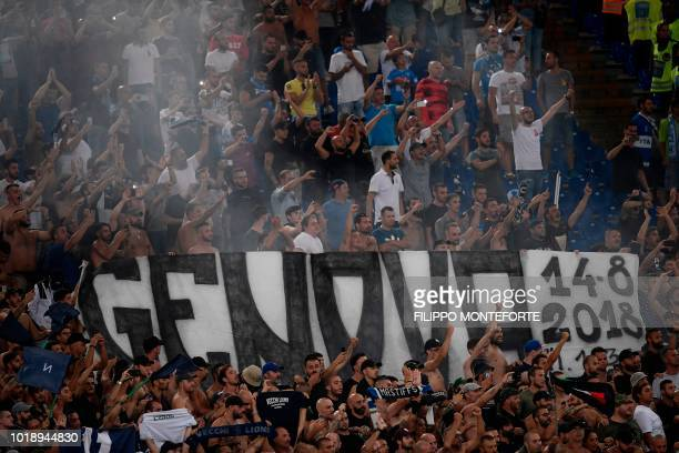 Napoli's fans hold a banner reading Genova 1482018 referring to Genoa's Morandi Bridge collapse that occured on August 14 during the Italian Serie A...