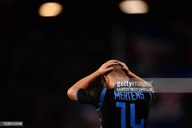 Napoli's forward Dries Mertens from Belgium reacts at the end of the Italian Serie A football match Sampdoria vs Napoli on September 2 2018 at the...