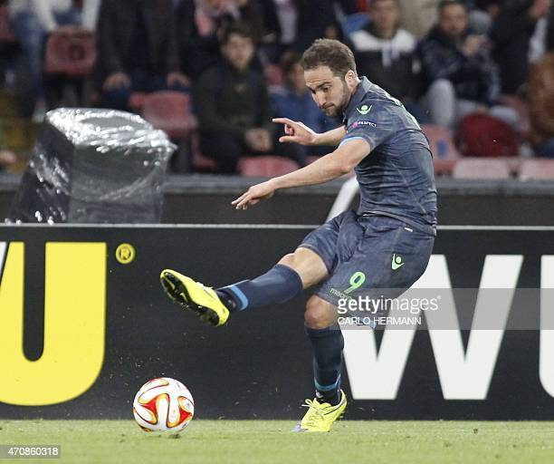 Napoli's forward from Argentina and France Gonzalo Higuain kicks the ball during the UEFA Europa League quarter final second leg football match SSC...
