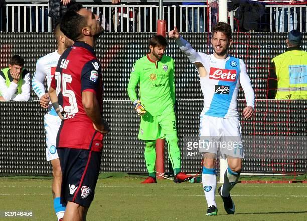 Napoli's forward from Belgium Dries Mertens celebrates after scoring a goal during the Italian Serie A football match Cagliari Calcio vs SSC Napoli...