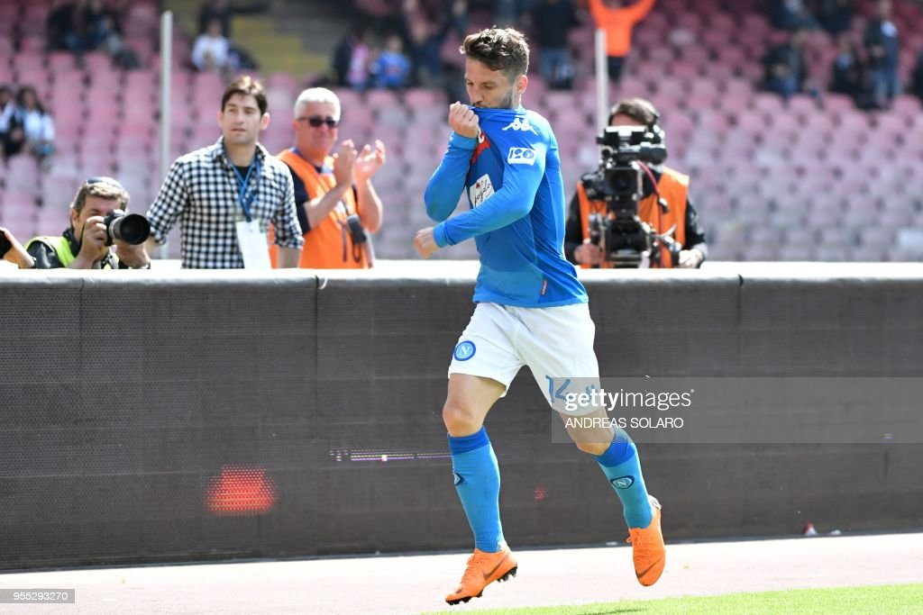 Napoli's forward from Belgium Dries Mertens celebrates after scoring a goal during the Italian Seriea A football match between Napoli and Torino at the San Paolo Comunal Stadium in Naples, on May 6, 2018.