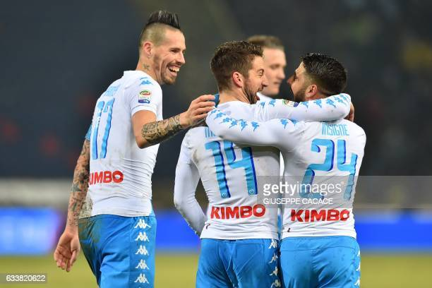 Napoli's forward from Belgium Dries Mertens celebrates after scoring with Napoli's midfielder from Slovakia Marek Hamsik and Napoli's midfielder from...