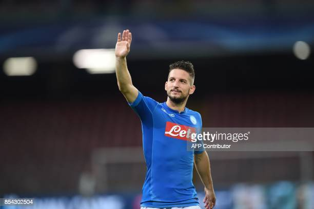 Napoli's forward from Belgium Dries Mertens greets fans at the end of the UEFA Champion's League Group F football match Napoli vs Feyenoord Rotterdam...