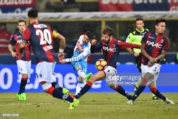 TOPSHOT Napoli's forward from Belgium Dries Mertens kicks the ball during the Italian Serie A football match Bologna vs Napoli at 'Renato Dall'Ara...