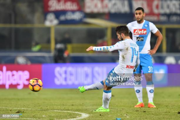 Napoli's forward from Belgium Dries Mertens shoots and scores a free kick during the Italian Serie A football match Bologna vs Napoli at Renato...