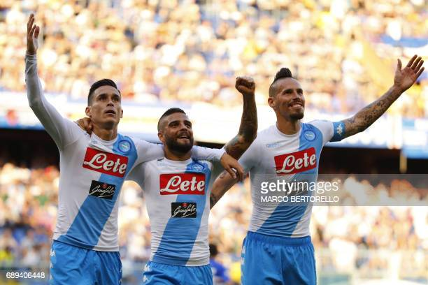 Napoli's forward Jose Maria Callejon from Spain celebrates with teammates Napoli's forward Lorenzo Insigne and Napoli's midfielder Marek Hamsik from...