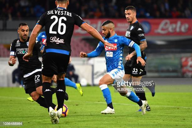 Napoli's forward Lorenzo Insigne from Italy scores during the Italian Serie A football match Napoli vs Empoli at San Paolo stadium in Naples on...
