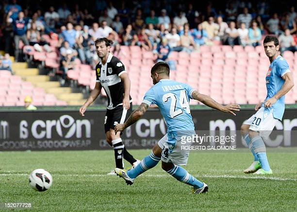SSC Napoli's forward Lorenzo Insigne scores during the Italian Serie A football match SSC Napoli vs Parma FC on September 16 2012 at San Paolo...