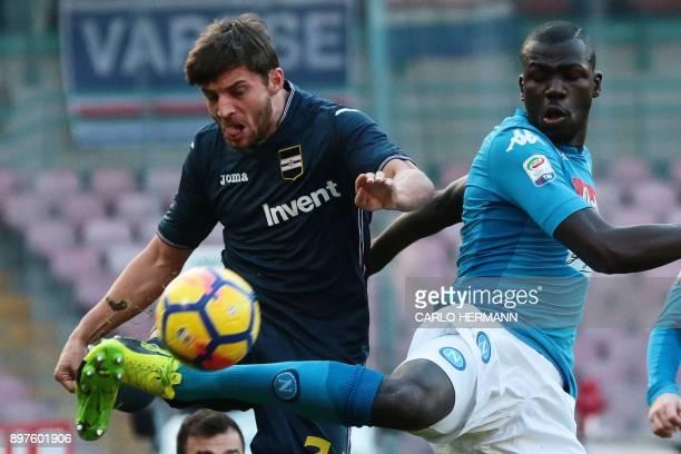 Napoli's French defender Kalidou Koulibaly fights for the ball with Sampdoria's Polish defender Bartosz Bereszynski during the Italian Serie A...