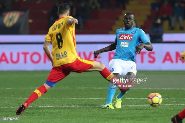 STADIUM BENEVENTO CAMPANIA ITALY Napoli's French defender Kalidou Koulibaly fights for the ball with Benevento's Italian midfielder Danilo Cataldi...