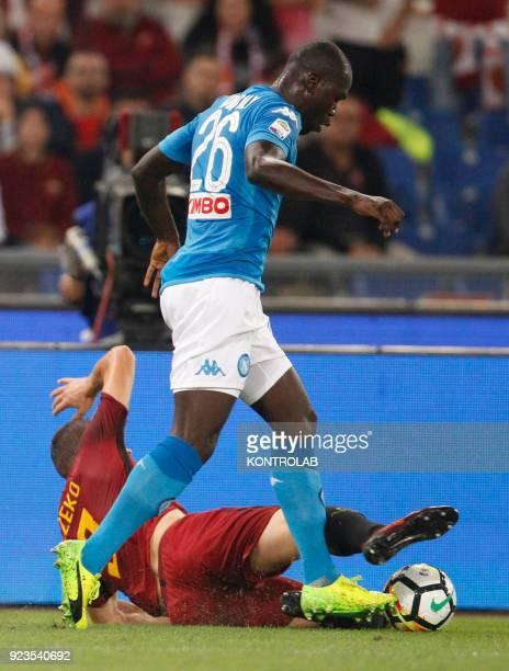 OLIMPICO ROME LAZIO ITALY Napoli's French defender Kalidou Koulibaly fights for the ball with Roma's Bosnian striker Edin Dzeko during theItalian...