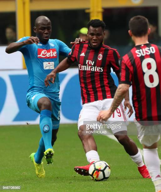 STADIUM MILAN LOMBARDIA ITALY Napoli's French defender Kalidou Koulibaly fights for the ball with Milan's Ivorian midfielder Franck Kessie during the...