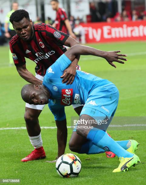 STADIUM MILAN LOMBARDIA ITALY Napoli's French defender Kalidou Koulibaly fights for the ball with Milan's Ivoirian midfielder Franck Kessie during...
