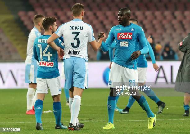 STADIUM NAPLES CAMPANIA ITALY Napoli's French defender Kalidou Koulibaly greets Lazio's Dutch defender Stefan de Vrij at the end of the Italian Serie...