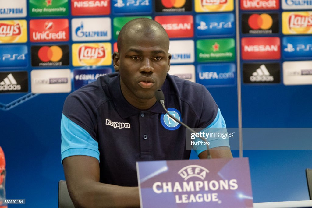 Napoli's French defender Kalidou Koulibaly holds a press conference on August 21, 2017, at the Allianz Riviera stadium in Nice, southeastern France, on the eve of the UEFA Champions League play-off football match between Nice and Napoli.