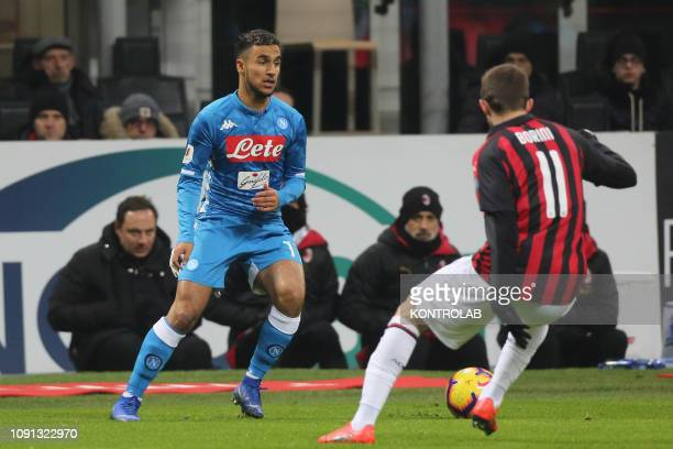 STADIUM MILAN LOMBARDIA ITALY Napoli's French forward Adam Ounas controls the ball during the Italy TIM Cup quartefinal football match AC Milan vs...