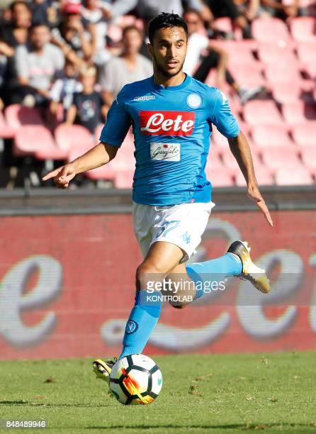 Napoli's French forward Adam Ounas controls the ball during the Italian Serie A football match SSC Napoli vs Benevento Calcio at the San paolo...