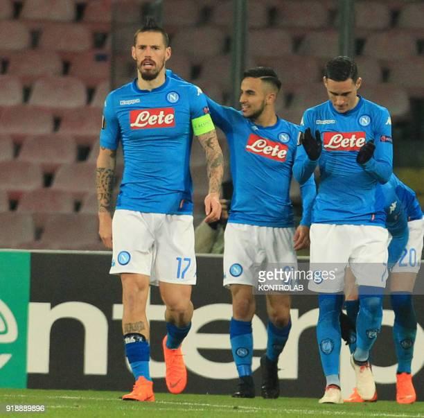 STADIUM NAPLES CAMPANIA ITALY Napoli's French striker Adam Ounas celebrates after scoring with teammates during the UEFA Europa League football match...