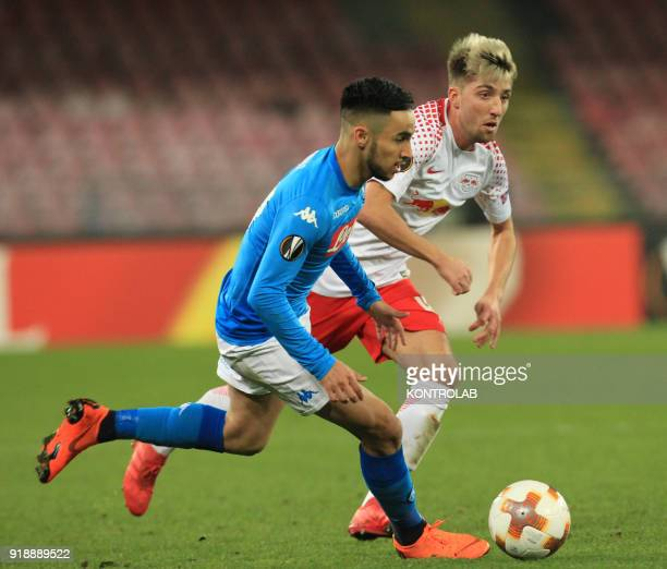STADIUM NAPLES CAMPANIA ITALY Napoli's French striker Adam Ounas fights for the ball with Leipzig's Brazilian midfielder Kevin Kampl during the UEFA...