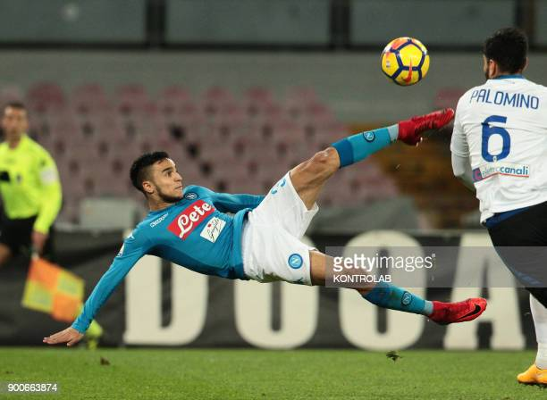 STADIUM NAPLES CAMPANIA ITALY Napoli's French striker Adam Ounas makes a bicycle kick during the Italian TIM Italy Cup football match SSC Napoli vs...