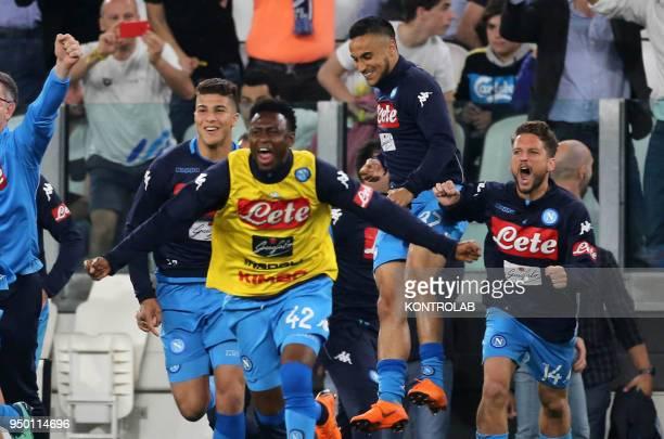 STADIUM TORINO PIEMONTE ITALY Napoli's French striker Zinedine Machach Napoli's Guinean midfielder Amadou Diawara Napoli's French striker Adam Ounas...