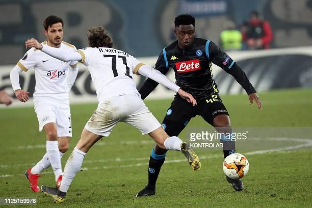 STADIUM ZURICH SWITZERLAND Napoli's guinean midfielder Amadou Diawara fights for the ball with Zurich midfielder from Kosovo Hekuran Kryeziu and...