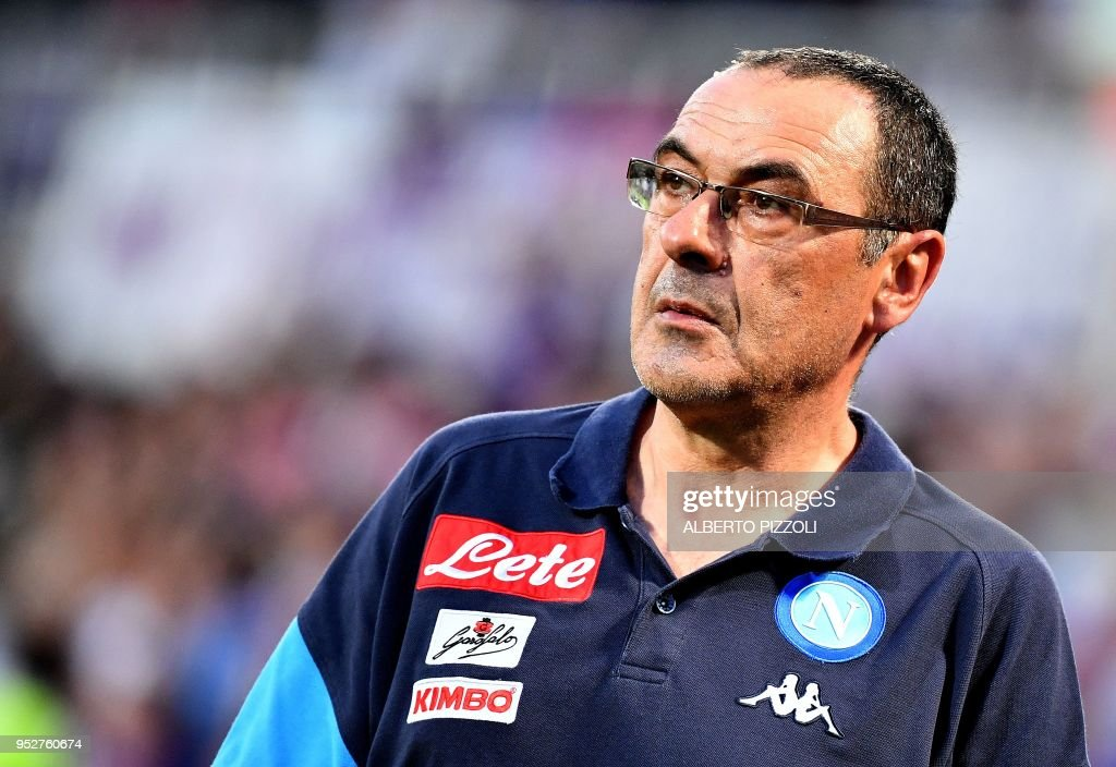 Napoli's head coach Maurizio Sarri leaves the field following the Italian Serie A football match Fiorentina vs Napoli on April 29, 2018 at Artemio-Franchi stadium in Florence.