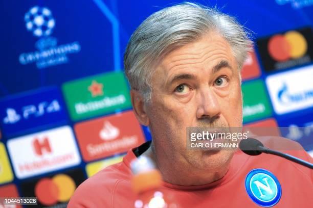 Napoli's Italian coach Carlo Ancelotti addresses a press conference on the eve of the UEFA Champions League Group C football match Napoli vs...