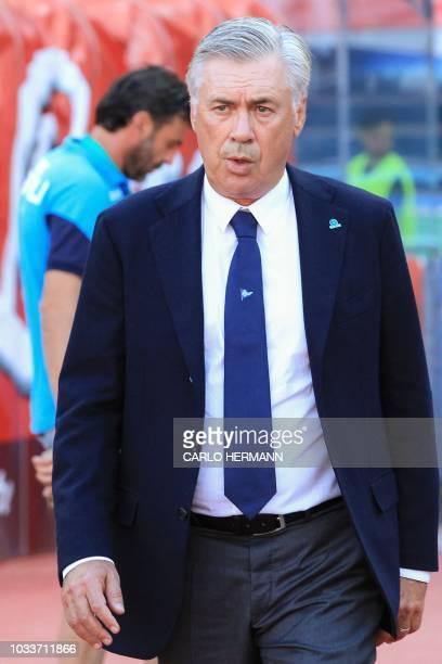 Napoli's Italian coach Carlo Ancelotti arrives prior to the Italian Serie A football match Naples vs Fiorentina on September 15, 2018 at the San...